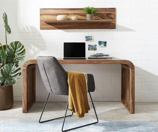 DELIFE Schreibtisch »Wally«, Sheesham Natur 160x75x76 cm Massivholz