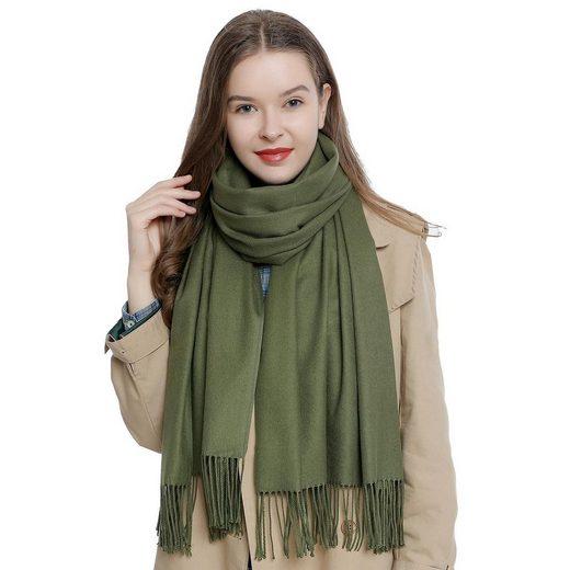 DonDon Schal »Damen Schal einfarbig 185 x 65 cm« (1-St) Damenschal, kuschlig weich, mit Fransen, Feinstrick