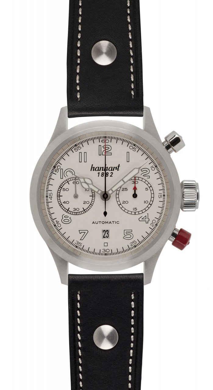 hanhart Chronograph »Chronograph PIONEER TwinControl AS-GL«, glatte Lünette, inkl. Lederhülle