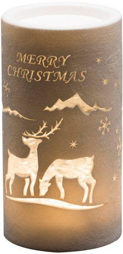 KONSTSMIDE LED Laterne, LED Laterne Rentier, Weihnachtsmann und Schlitten