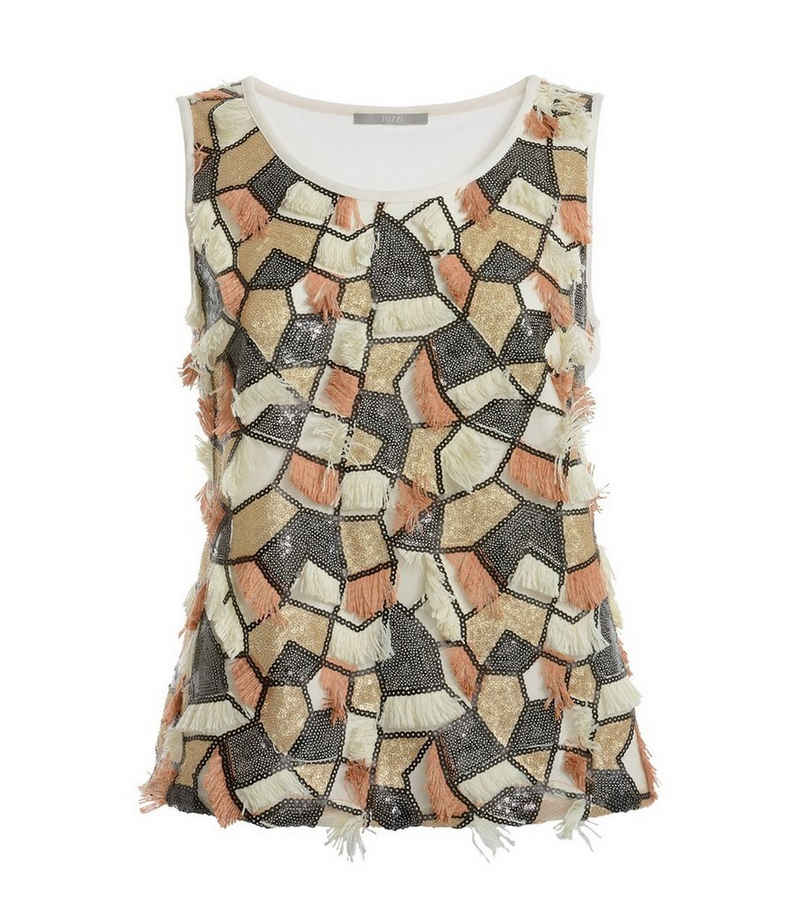TUZZI Shirttop »TUZZI Top fließendes Damen Shirt mit Pailletten und Fransen Shirt Creme«
