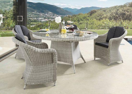 Destiny Sitzgruppe »Malaga / Luna«, Sitzgruppe, 4 Sessel, 1 Tisch rund, pflegeleichtes, UV beständiges Polyrattan