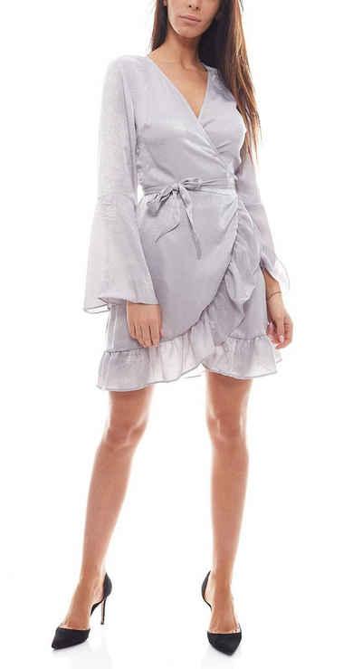 NA-KD Wickelkleid »NA-KD x Qontrast Satin-Kleid kurzes Damen Wickel-Kleid mit Rüschen Party-Kleid Silber«