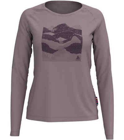 Odlo Langarmshirt »odlo Concord Langarm-Shirt dünnes Damen Outdoor-Shirt mit Merino-Wolle Longsleeve Violett«