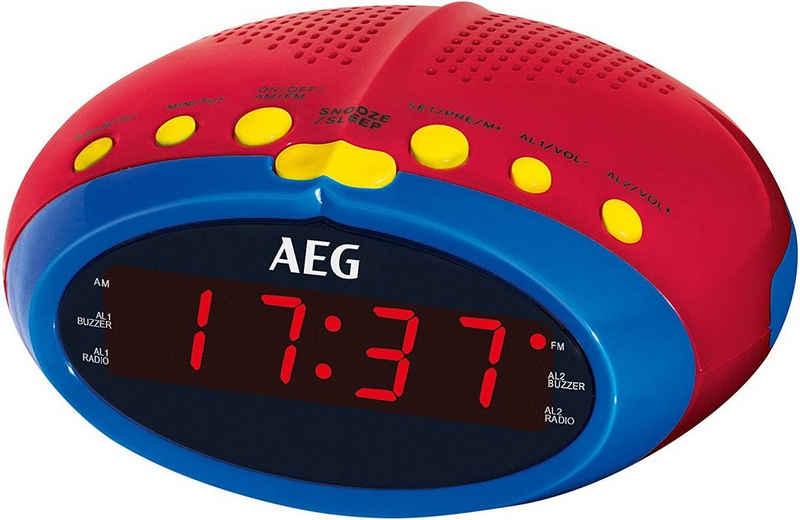 AEG Radiowecker (UKW/MW Radio, Uhrenradio, Radiowecker, für Kinder, UKW/MW Radio, 24 Stunden LED Display, Einschlafautomatik 90min, Weckfunktion, Wurfantenne, Stationsspeicher, Snooze)