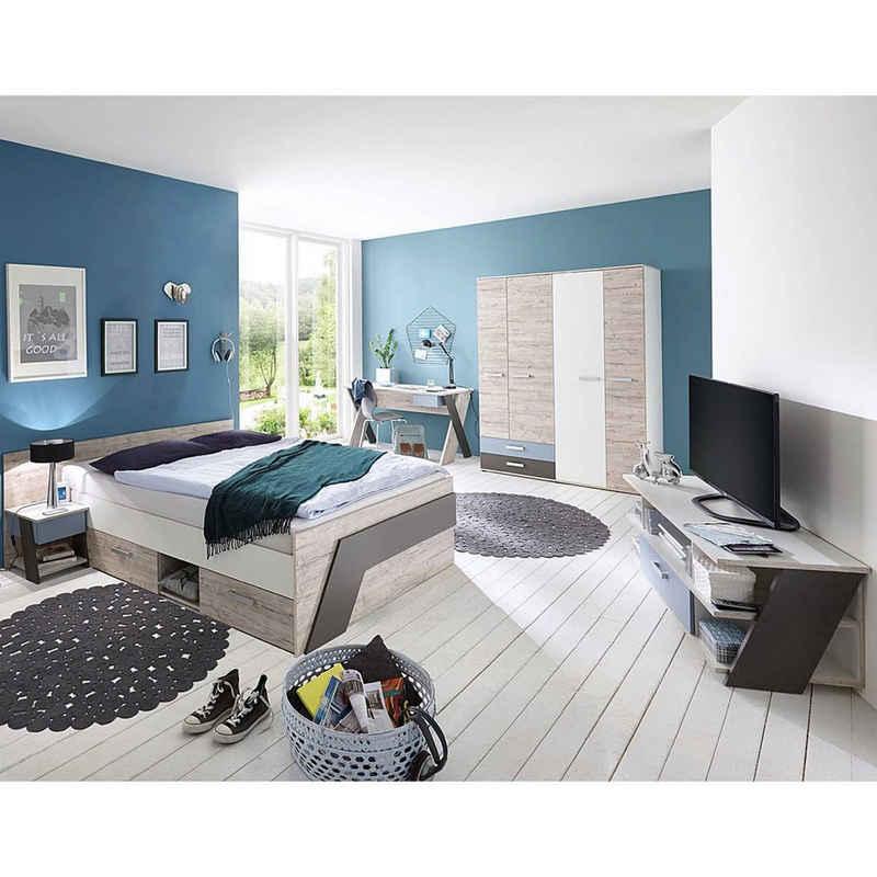 Lomadox Jugendzimmer-Set »LEEDS-10«, (Sparset, 5-tlg), mit Bett 140x200 cm 5-teilig mit Kleiderschrank in Sandeiche Nb. mit weiß, Lava und Denim Blau