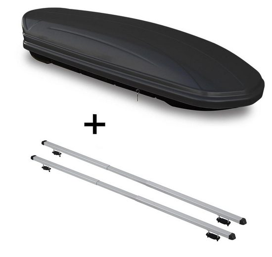 VDP Fahrradträger, Dachbox VDPMAA460 460Ltr schwarz matt abschließbar + Dachträger RAPID kompatibel mit Kia Clarus (5Türer) 95-01