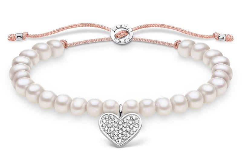 THOMAS SABO Silberarmband »weiße Perlen mit Herz«