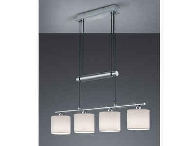 meineWunschleuchte LED Pendelleuchte, dimmbar stufenlos höhenverstellbar, JoJo, Designer Lampen-Schirme Stoff Weiß, 4 flammig, Wohnzimmer Esszimmer Lampen hängend
