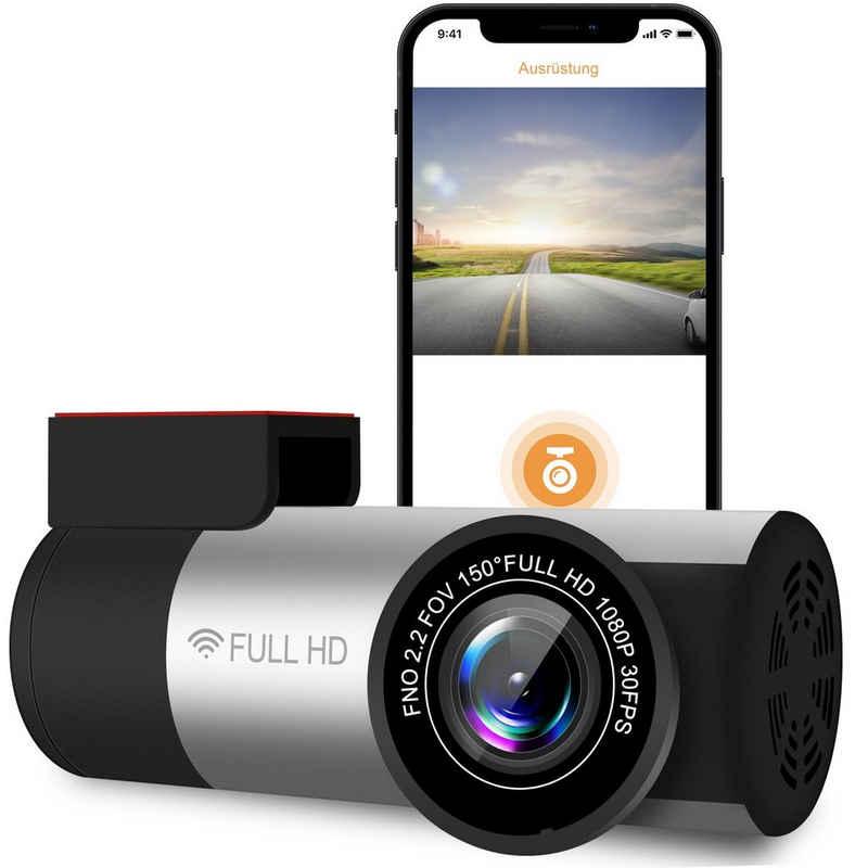 Vaxiuja »WLAN-Dashcam mit GPS-Autokamera, mit 150°-Weitwinkelobjektiv, Nachtsicht, Schleifenaufzeichnung, Schwerkraftsensor, Sprachaussprache, Parkmonitor und Bewegungserkennungs-Autofahrrekorder« Dashcam (HD, WLAN (Wi-Fi)