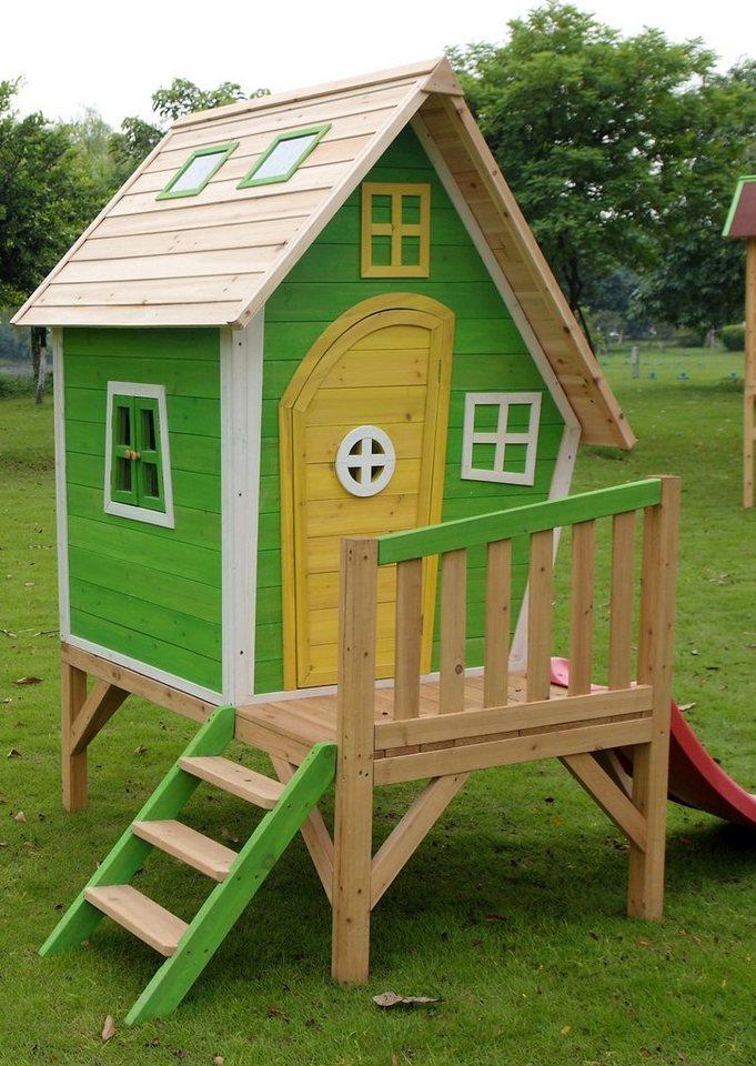 Dein Spielplatz Spielhaus aus Holz mit Podest und Wellenrutsche »Basil«