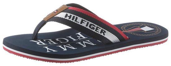 TOMMY HILFIGER »HILFIGER MARITIME BEACH SANDAL« Zehentrenner mit modischer Logostickerei
