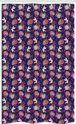Abakuhaus Duschvorhang »Badezimmer Deko Set aus Stoff mit Haken« Breite 120 cm, Höhe 180 cm, Vögel Fliegen Kran und Blumen