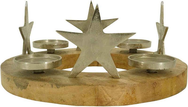 Lesli Living Adventskranz »Adventskranz Sterne Silber Mangoholz Aluminium 38x38x15cm«
