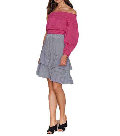 NA-KD Blusentop »NA-KD x Hanna Licious Off-Shoulder Bluse knallige Damen Schößchen-Bluse Party-Shirt Pink«