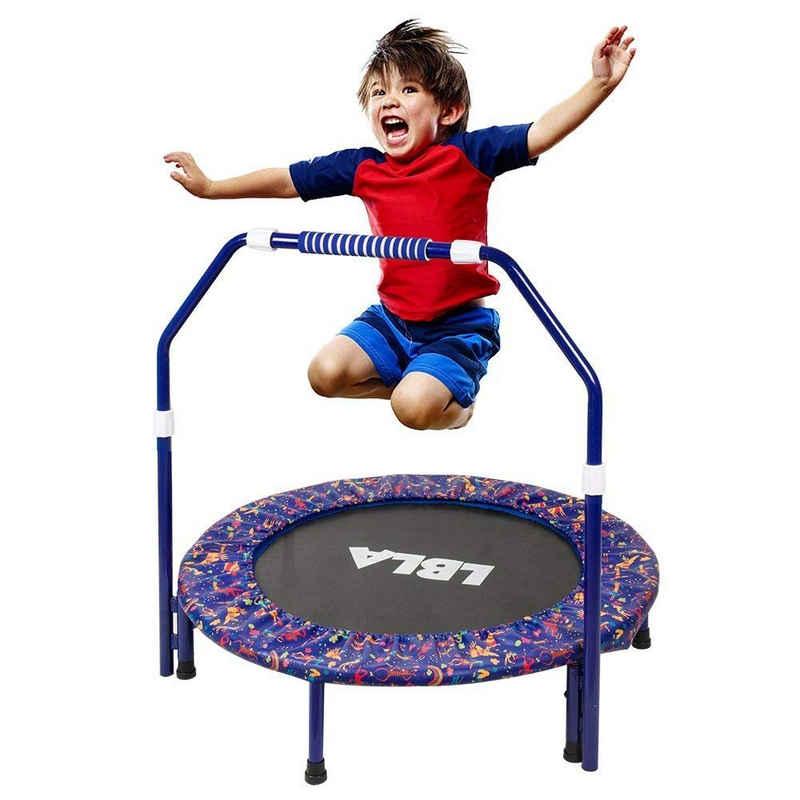 LBLA Kindertrampolin »Minitrampolin für Drinnen«, Ø 90,00 cm, Klappbar Fitnesstrampolin Indoor mit Verstellbarer Handlauf, Belastung Bis 60kg