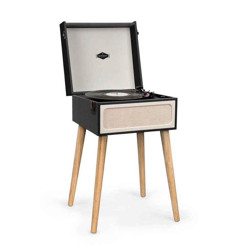 Auna »Sarah Ann Plattenspieler Bluetooth USB 33, 45 und 78 U/min schwarz/creme« Plattenspieler (Riemenantrieb, Bluetooth, USB- und SD-Card-Anschluss, Koffer-Design im Stil der 50er Jahre)