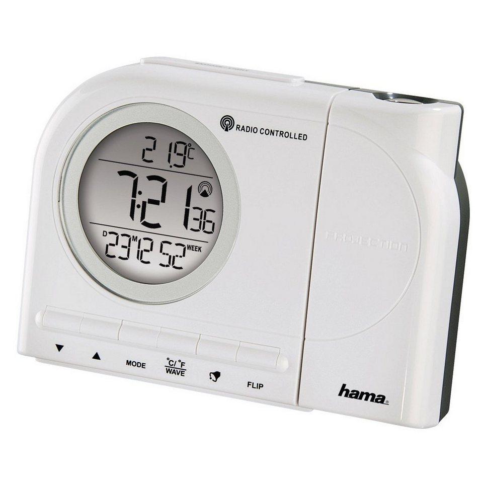Hama Projektionswecker Funkwecker, Uhrzeit, Temperatur, Kalender »2 Weckzeiten, Snooze, digital« in Weiß