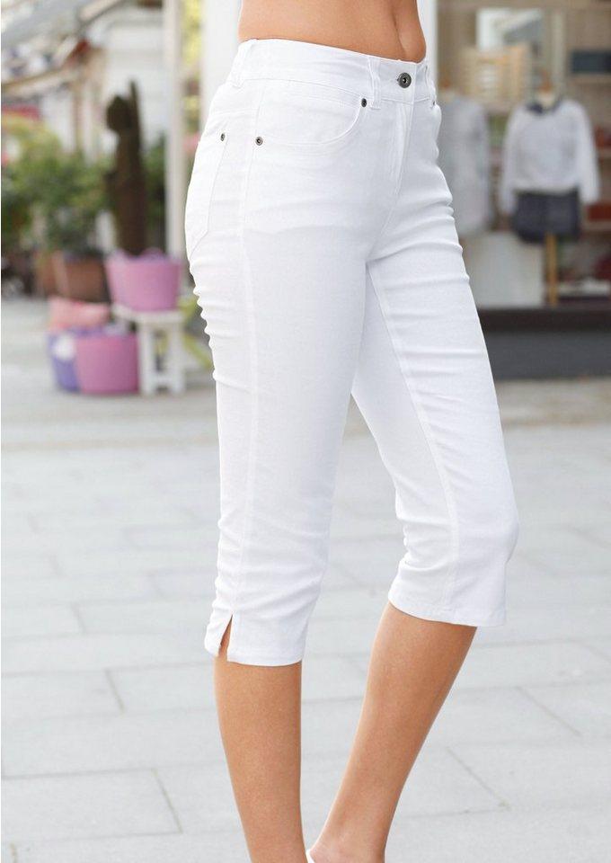 Cheer Caprihose mit bestickten Gesäßtaschen in weiß