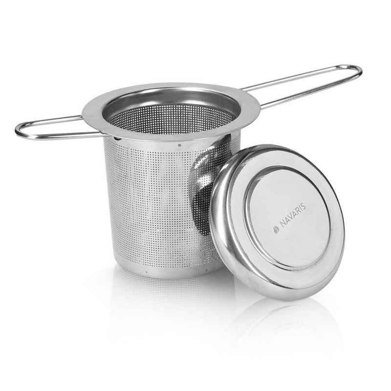 Navaris Teesieb, Edelstahl, Edelstahl Teefilter Siebeinsatz - für Tasse und Kanne - mit Abtropfschale - Feinporiges Metall Sieb für losen Tee - faltbare Griffe