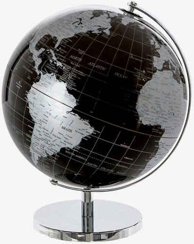 Casablanca by Gilde Dekoobjekt »Globus World, schwarz/silberfarben« (1 Stück), in 2 Größen erhältlich (20 cm oder Ø 25 cm), Wohnzimmer