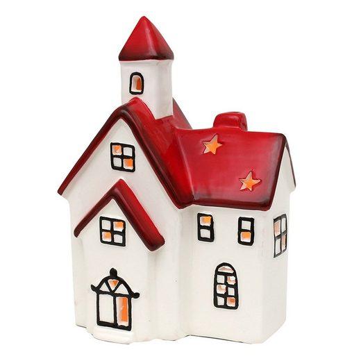 SIGRO Windlicht »Windlichthaus weiß-rot glasiert«