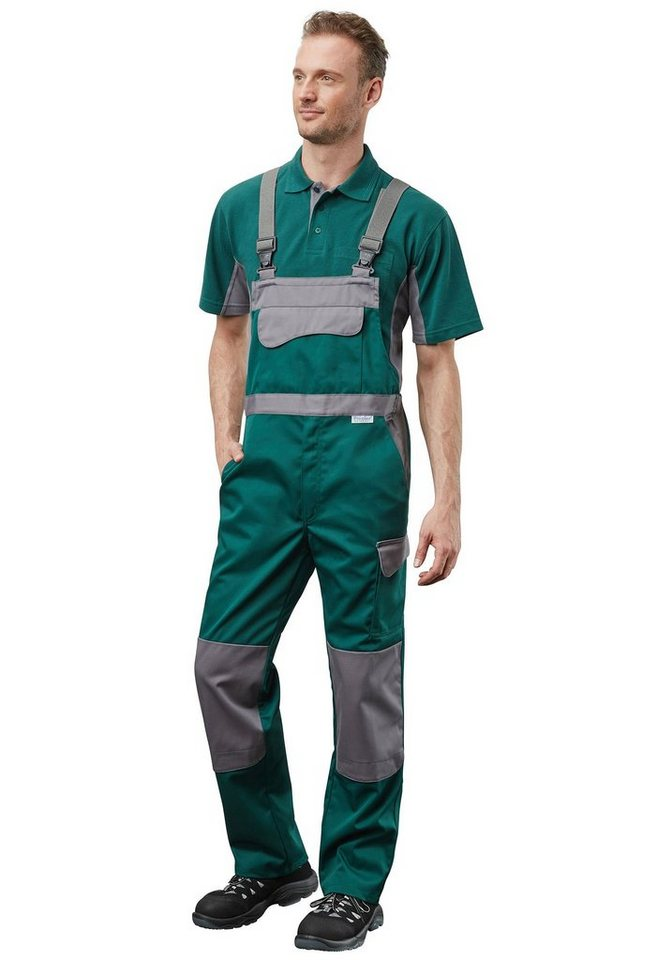 Pionier ® workwear Funktions-Latzhose Color Wave in grün/grau