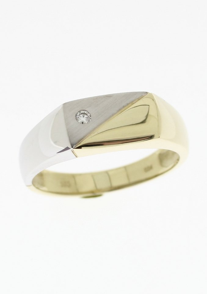 Ring: Siegelring mit Diamant in goldfarben