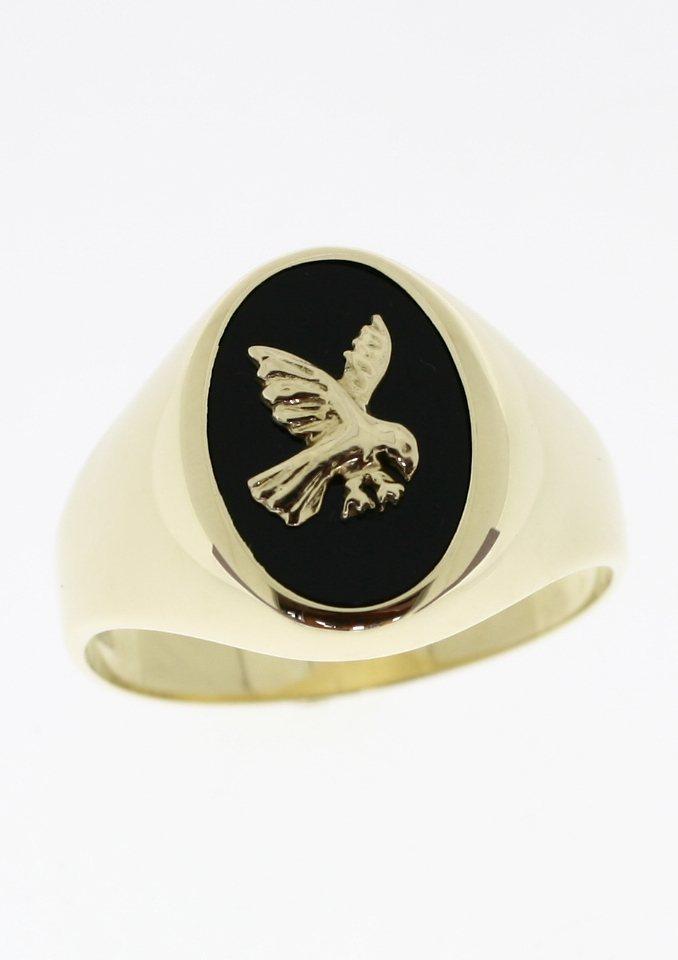 firetti Ring: Siegelring mit Onyx und Adler in goldfarben