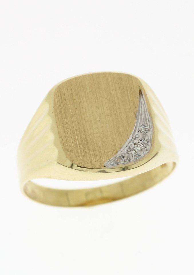 Herren Firetti Siegelring matt in Bicolor-Optik mit Diamant gold | 04041633021662