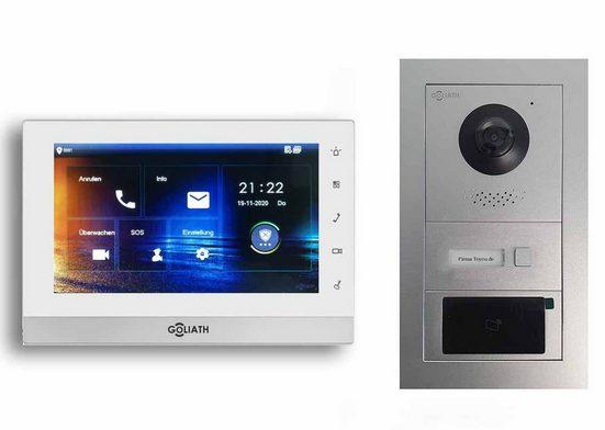 Goliath Intercom »Hybrid 2-Draht« Video-Türsprechanlage (1-tlg., 1x 7 Zoll Monitor Weiß-Silber, GL-HB110)