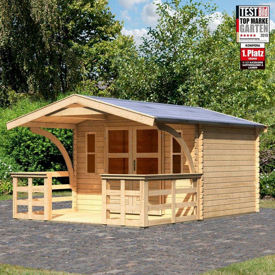 KONIFERA Set: Gartenhaus »Regensburg 3«, BxT: 346x456 cm, inkl. Terrasse  und Vordach online kaufen | OTTO