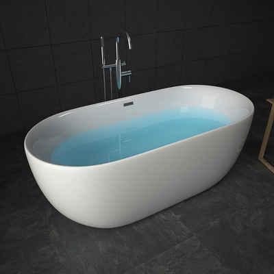 TroniTechnik Badewanne »Freistehende Badewanne Sifnos«, (1-tlg), aus glasfaserversärktem Acryl, mit Überlauf-Ablauf und Push-to-open Abfluss