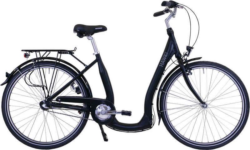 HAWK Bikes Cityrad »HAWK City Comfort Premium Black«, 3 Gang Shimano Nexus Schaltwerk