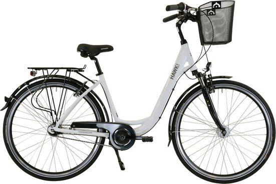 HAWK Bikes Cityrad »HAWK City Wave Deluxe Plus White«, 7 Gang Shimano Nexus Schaltwerk