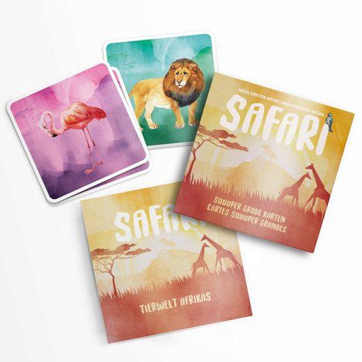 Pihu Spiel, Erstes Memo Spiel »SAFARI«, Extra große und stabile Karten - mit Begleitheft - Tierpaare suchen - Kinderspiel