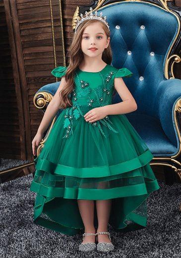 TOPMELON Abendkleid Prinzessin Kleid, Partykleid, Kurzarm, Mit Stickmuster
