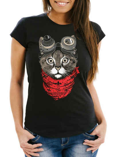 MoonWorks Print-Shirt »Damen T-Shirt Katze Cat Steampunk Slim Fit Moonworks®« mit Print