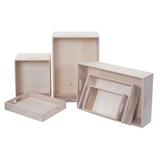 MCW Holzkiste »MCW-C20-6« (Set, 6 Stück, 6er), Mit Tragegriffen, Praktisch und dekorativ, Vielseitig einsetzbar