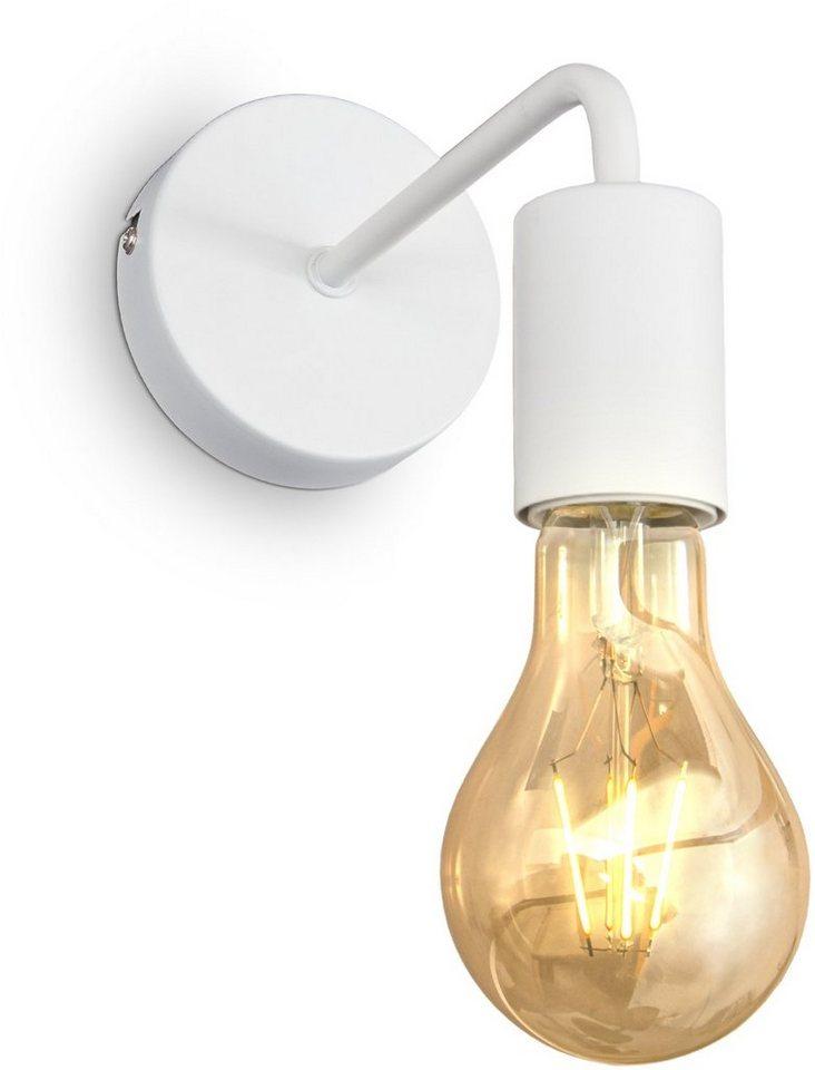 B.K.Licht I Wandlampe I 1 flammige Vintage Wandleuchte I Industrial Design I Retro Lampe I Stahl I Rund I E27 I ohne Leuchtmittel