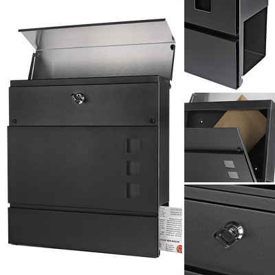 Mucola Briefkasten »Briefkasten Edelstahl Wandbriefkasten Schwarz Silber Zeitungsfach Wand Letterbox«, inkl. 2 Schlüssel, Zeitungsbox