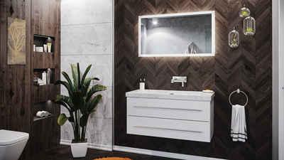 Emotion Waschtisch »Badmöbel Marmor Carrara White Damo 100cm ohne Hahnloch weiß hochglanz & Spiegel«