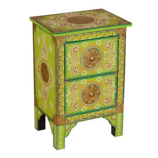 Casa Moro Nachtkommode »Orientalische handbemalte Kommode Nanda 40x30x60 cm (B/T/H), RK45-30« (1 St), Handbemalt mit Messing & kleinen Steinchen verziert