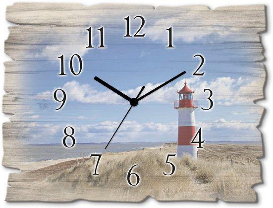 Artland Wanduhr »Leuchtturm Sylt« (lautlos, ohne Tickgeräusche, nicht tickend, geräuschlos - wählbar: Funkuhr o. Quarzuhr, moderne Uhr für Wohnzimmer, Küche etc. - Stil: modern)