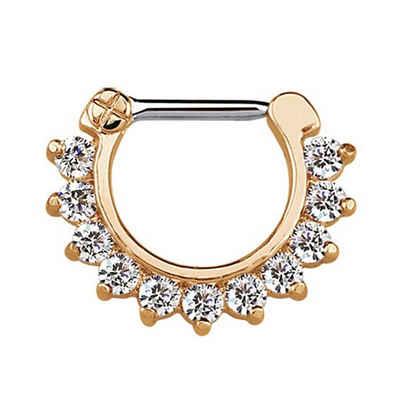 Adelia´s Nasenpiercing »Septum Clicker Nasenpiercing rosegold, 11 klare Steine«, mit 316l Stahlstab als Verschluss Clicker