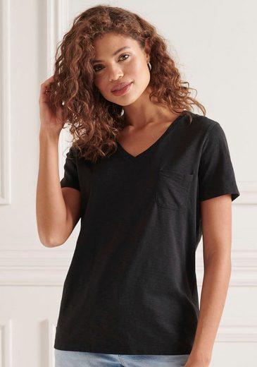 Superdry T-Shirt »SCRIPTED V NECK TEE« mit dezenter Logostickerei