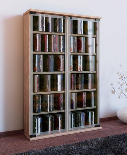 VCM CD-Regal »Holz CD DVD Standregal Galerie mit Glastür«