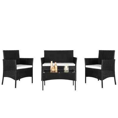 FCH Gartenmöbelset, Couchtisch Sofa Polyrattan Gartenmöbel Sitzgruppe Gartenset Lounge Garnitur Set