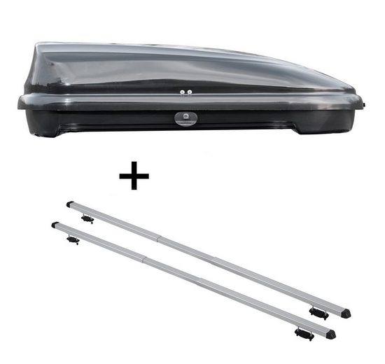 VDP Fahrradträger, Dachbox VDPFL320 320Ltr schwarz glänzend + Dachträger RAPID kompatibel mit Honda Accord VII Tourer (5Türer) 03-07