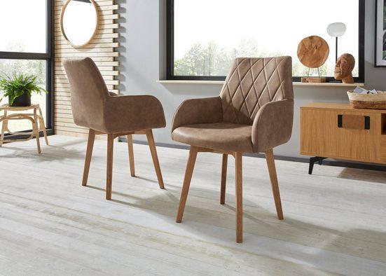 Premium collection by Home affaire Armlehnstuhl »Brest« (Set, 2 Stück), Bezug in Leder oder Microfaser, Gestell ist Eiche Massivholz geölt